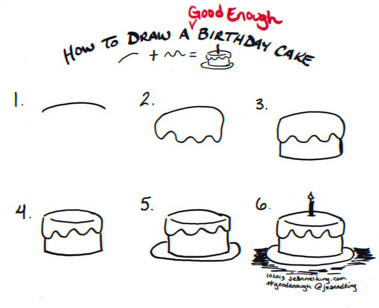 How to draw a Good Enough birthday cake - tutorial image by Jeannel King