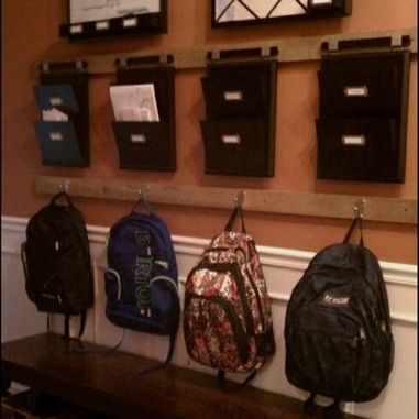 Good organization for the mudroom so everything is ready to go when you head out the door