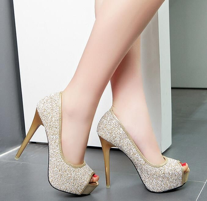 4-free shipping new 2016 vogue Adult peep toe summer heels women pumps fashion glitter platform shoes zapatos mujer silver 12cm alishoppbrasil