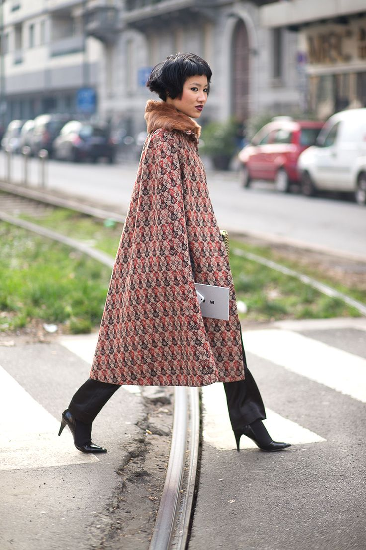"The Best Milan Fashion Week Street Style: Fall 2015 - HarpersBAZAAR.com ""Beautiful, the collar and the way it falls"""