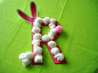 R is for rabbit.: Letters Crafts, Teaching Ideas, Rabbit Crafts, Alphabet Crafts, Easy Recipes, Curriculum Crafts, Kids Music, Preschool Crafts, Preschool Learning