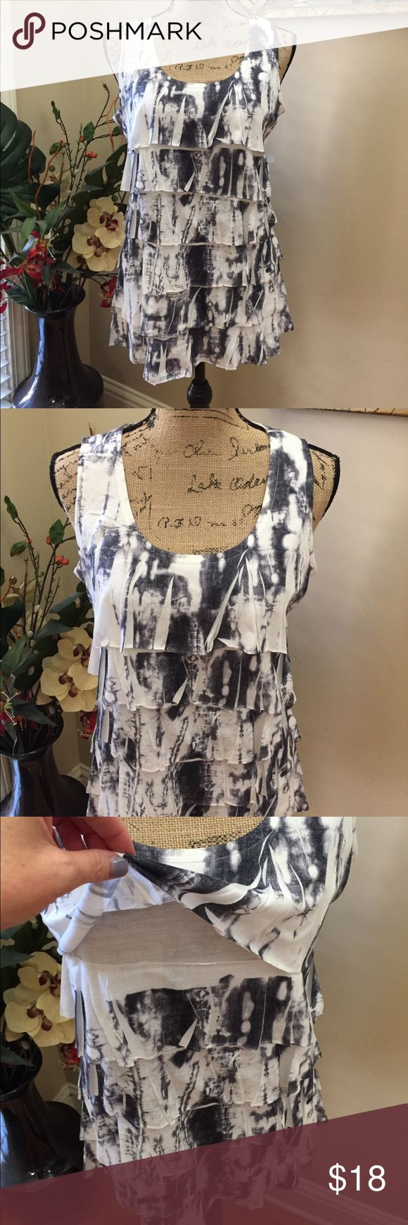"""💜💜Coldwater Creek ruffled tie dye tunic 💜💜Coldwater Creek ruffled tie dye tunic. This is a well made lined blouse with interesting ruffles throughout. Tie dye with BOHO love in deep greys on a white background. Preloved in excellent condition. Pit to pit measurement is 18"""". Not much stretch. Length is 26"""". Coldwater Creek Tops Tunics"""