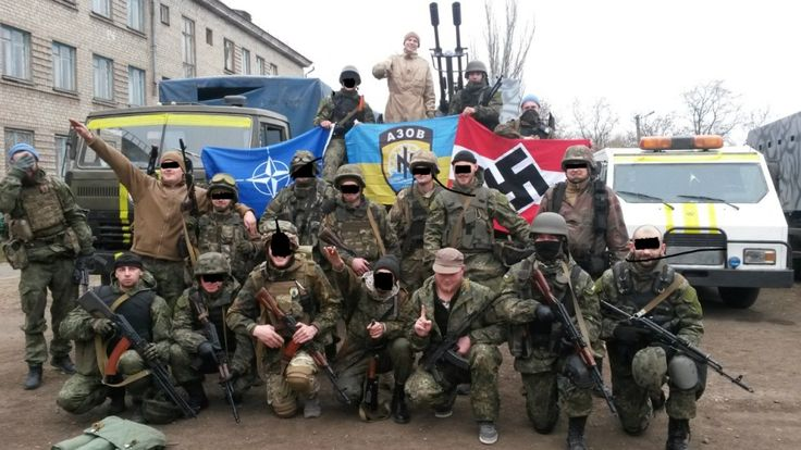 Hillary's Azov battalion in the Ukraine. As you can see, NATO and the Nazis have been tied at the hip from its inception.    azov-ukraine