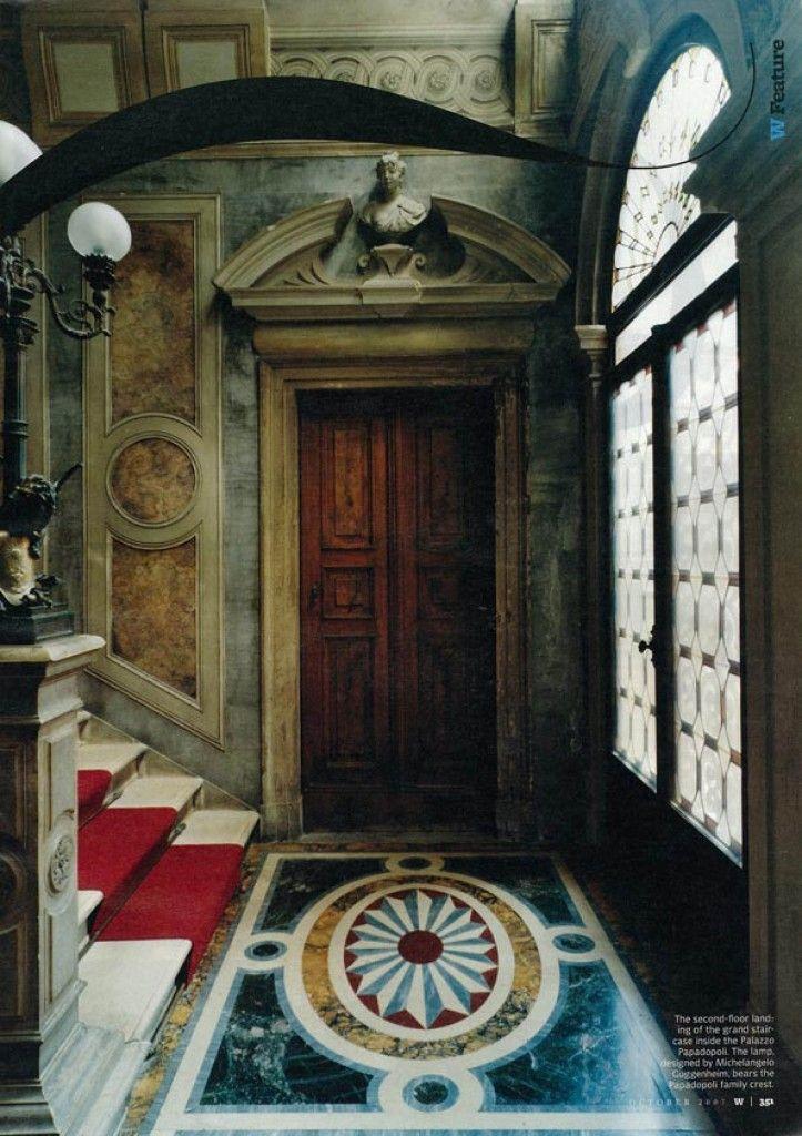 saved for blurb Grand staircase inside the Palazzo Papadopoli, Venice. Photo Simon Watson for W Magazine Oct 2007
