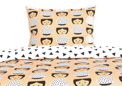 Bed linen in organic cotton designed by Marie Willumsen with BORDFOLK girl motif. 100x140 cm
