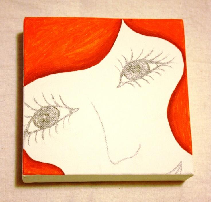 Lovely Lady Canvas Orange 6 x 6 by meteorabycosi on Etsy, $25.00