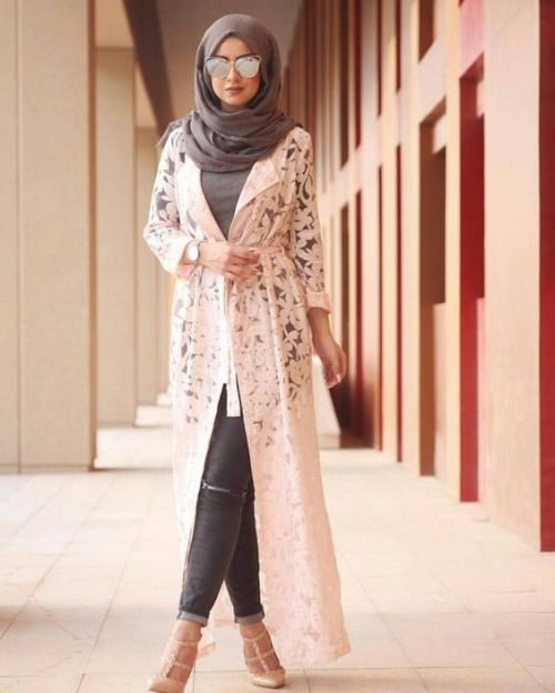 white lace cardigan hijab