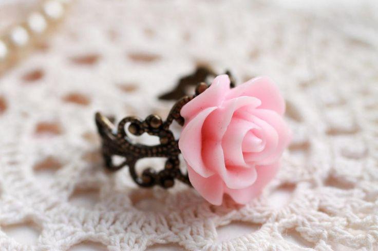 Pink resin rose ring, pale pink rose ring,
