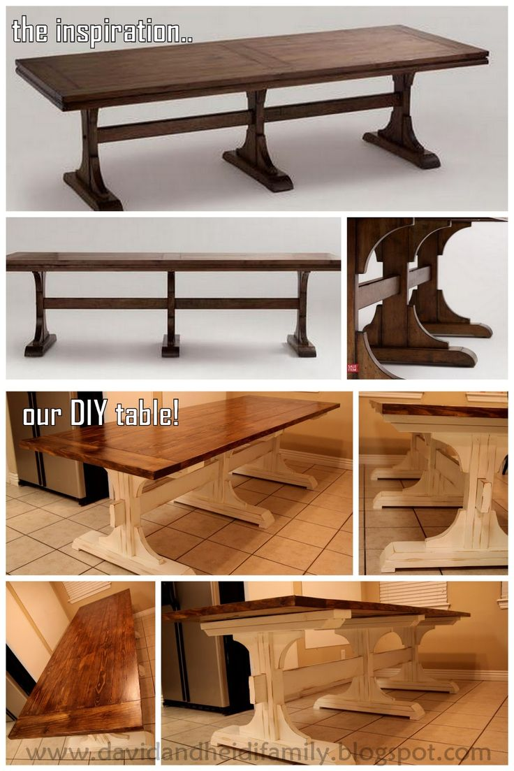 Tables rustic solid wood trestle pedestal base harvest dining table - Diy Dining Table Ideas