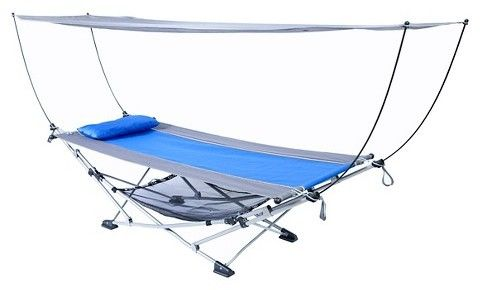 Mac Sports Hammock with Canopy.This hammock with canopy sets up in minutes, making it ideal for relaxation while camping or at home. The collapsible frame makes it easy to transport and stow and comes complete with its own carry bag.  https://api.shopstyle.com/action/apiVisitRetailer?id=467478097&pid=uid8100-34415590-43