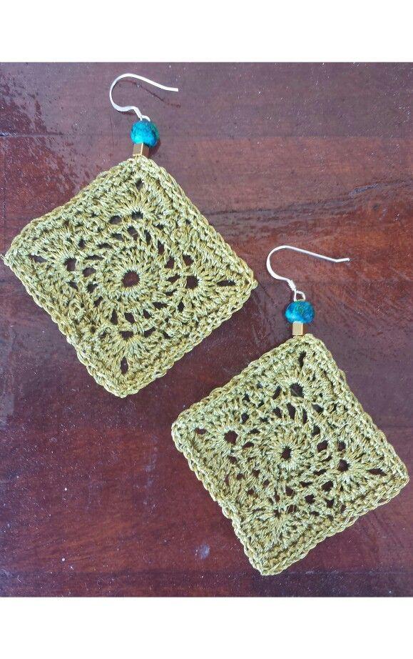 summer gold/blue earrings #crochet