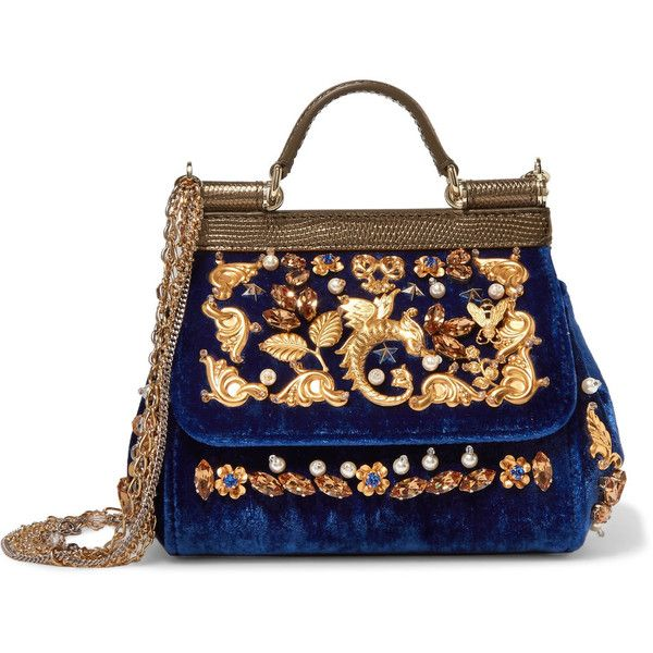 Dolce & Gabbana Sicily embellished velvet and lizard-effect leather... found on Polyvore featuring bags, handbags, shoulder bags, dolce & gabbana, royal blue, dolce gabbana purses, royal blue purse, real leather purses, leather shoulder bag and leather purses