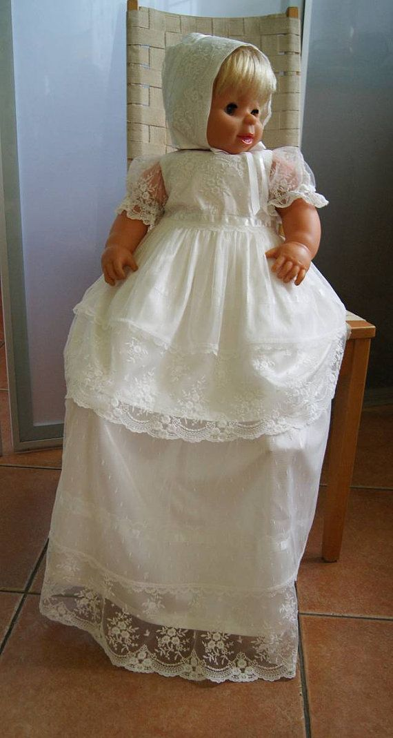 LAILA Christening Gown with detachable long layer , Ivory Lace Baptism Gown, Baptism dress, Christening set,