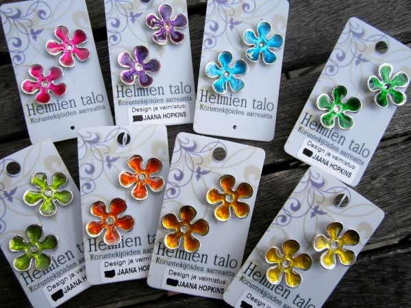 Cold enameled ear studs.