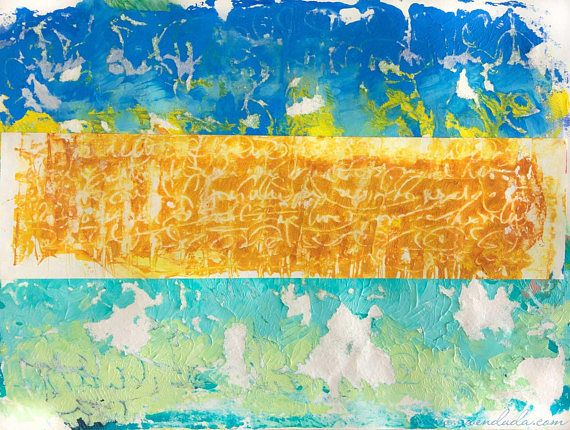 Abstract Monoprint Monotype Acrylic Paper 12x9 inches Gold