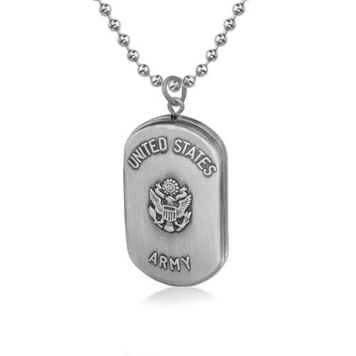 Sterling Silver United States Army Dog Tag Locket Pendant Stainless Steel Chain 24in