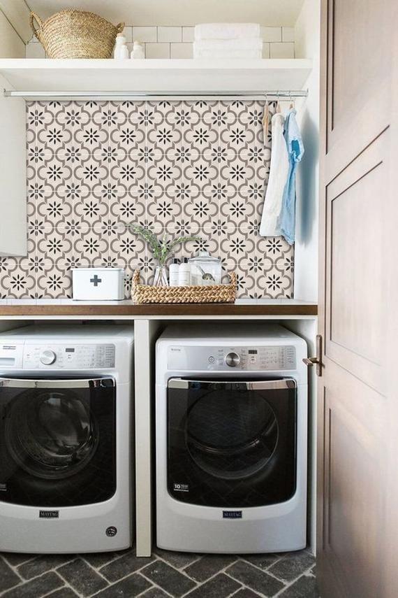 Tile Decals Tiles For Kitchen Bathroom Back Splash Floor Etsy Laundry Room Inspiration Bathroom Splashback Laundry Room Design