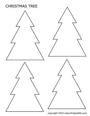 Four Christmas tree templates on a page