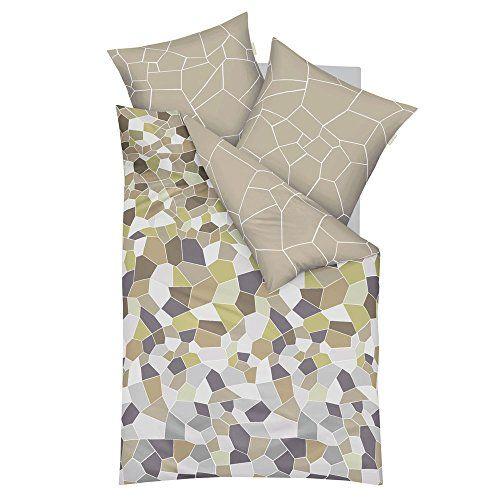 Kaeppel Mako-Satin Bettwäsche Infinity khaki 155x220 cm + 80x80 cm