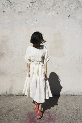 Black Crane Wrap Skirt in Cream | Oroboro | Brooklyn, New York