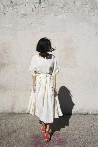 // Black Crane Wrap Skirt in Cream   Oroboro   Brooklyn, New York