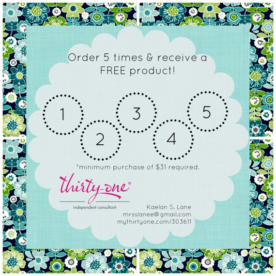 Thirty One Frequent Buyer Card on Etsy, Had a lovely make some up for me in party punch!