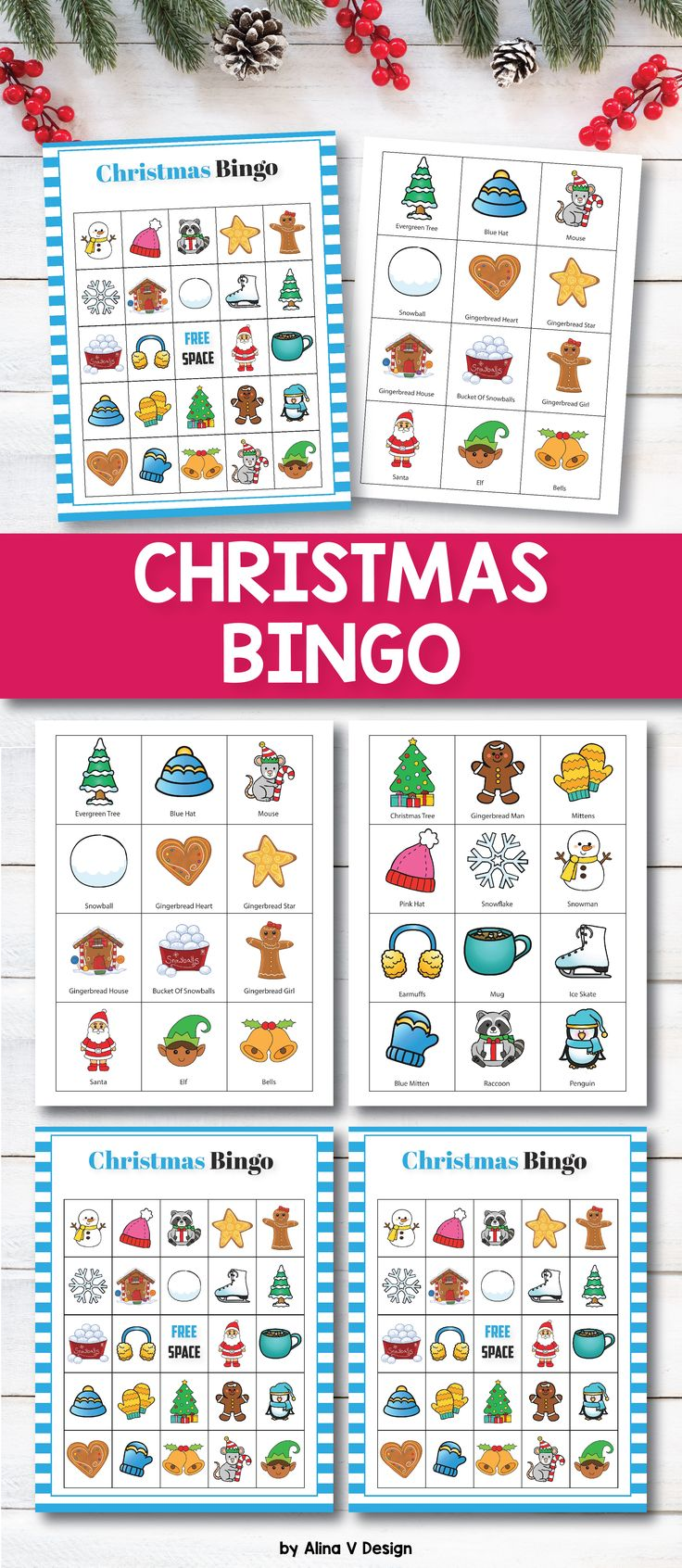Christmas bingo printable game for kids and adults perfect for classrooms, large groups or family dinners.  This fun game set includes 30 bingo cards 24 calling cards. Add this set to your Christmas activities this year, and your preschool or kindergarten students will have so much fun with this class set!