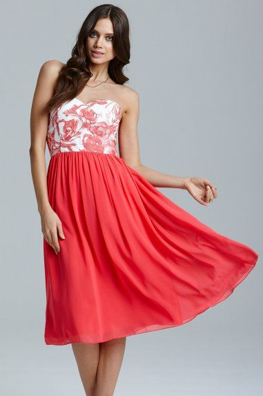 Coral and Cream Floral Top Prom Dress