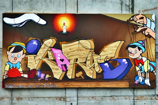 Christchurch Street Art  - The Making of Pinocchio by Ikarus DTR Crew. Photo by Steve Taylor. This is magnificent #christchurch #streetart