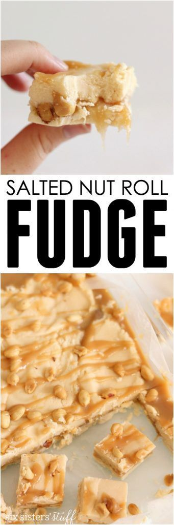 Salted Nut Roll Fudge from SixSistersStuff.com | Creamy, delicious fudge with a perfect caramel center are a great addition to your Christmas cookie trays and make for great homemade gifts!
