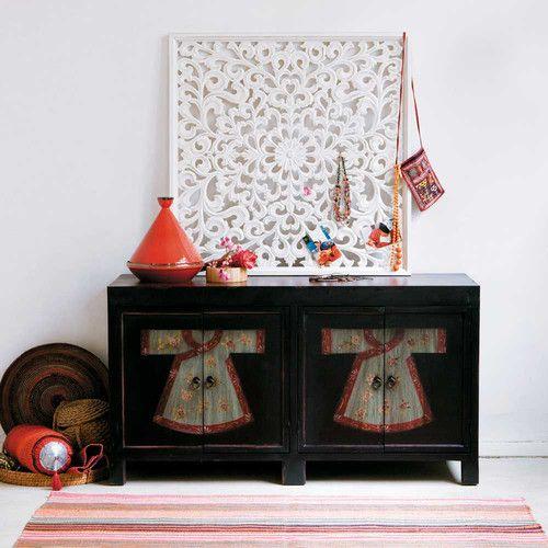Credenza nera e rossa a motivi in legno L 130 cm