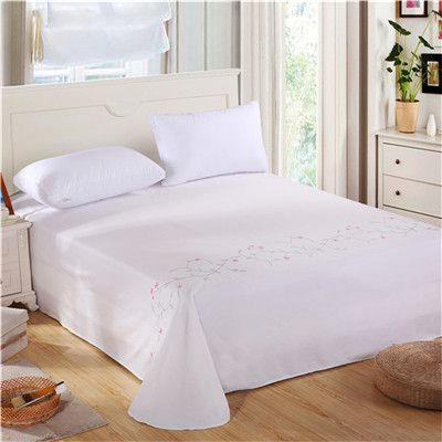 100% cotton bed sheets flat sheet 250*250cm 1pc beige embroidered sabanas