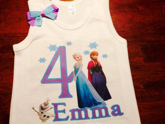 Girls and Babies Frozen Birthday Shirt Blue, White and Purple Great for Birthdays, Photo Props, Parties and Special Events on Etsy, $16.50