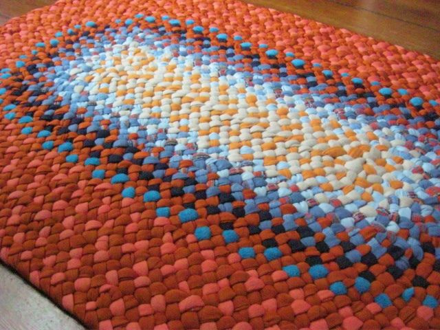 Handmade Oval Braided Rug In Orange And Blue Flickr Photo Sharing