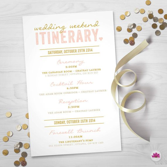 Wedding Weekend Itinerary Perfect addition for hotel and out of town bags to let your guests know the timeline of events for your big day!  By