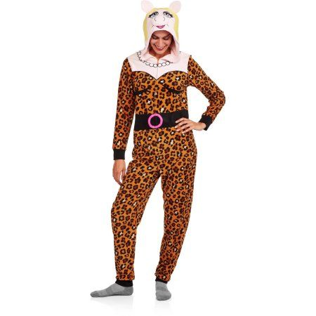 Plus Size Miss Piggy Women's and Women's Plus License Sleepwear Adult Onesie Costume Union Suit Pajama (XS-3X), Size: XS, Beige