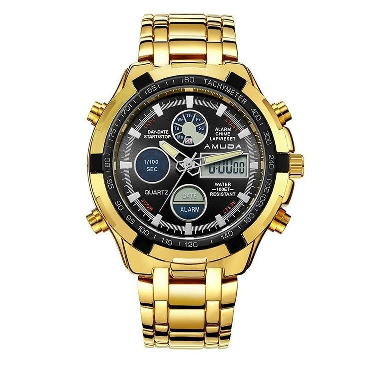 Military Dual Display Watch with Folding Link Wristband [Silver or Gold]