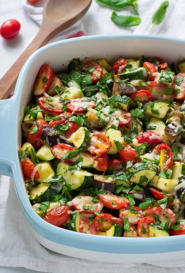 Garlic Parmesan Tomato Eggplant Zucchini Bake #zucchini #glutenfree