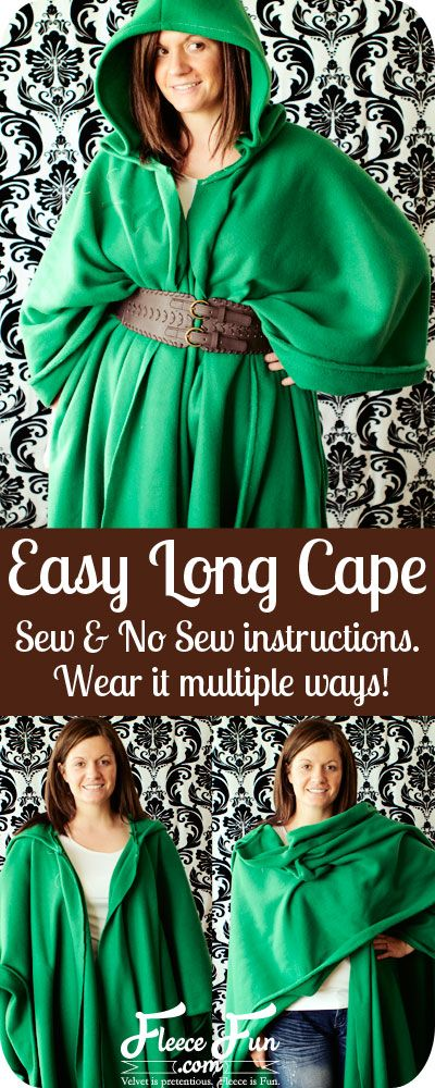 You can make this easy long cape in no time!  Sew and no sew options.  Wear it multiple ways.