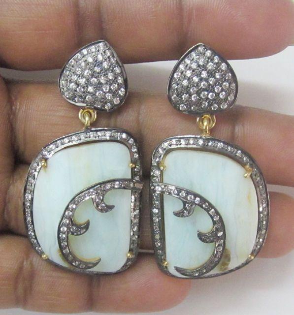 Uneven Shaped Peru Opal/CZ Gemstone Jewelry Sterling Silver Earrings UK - 4397 #SilvestoIndia #DropDangle