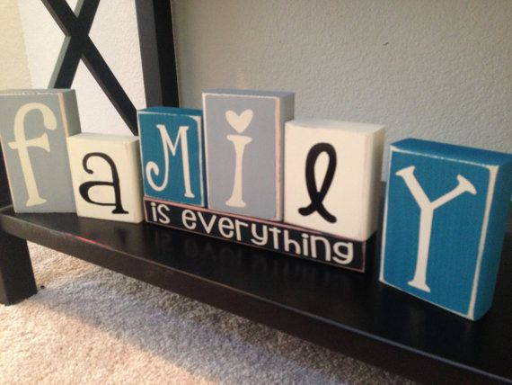 Family Is Everything home Vinyl Lettering Wood Blocks by invinyl