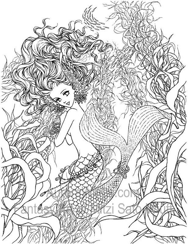 Artist Mitzi Sato Wiuff Mermaid Myth Mythical Mystical Legend Mermaids Siren Fantasy Ocean Sea Adult Coloring PagesColoring