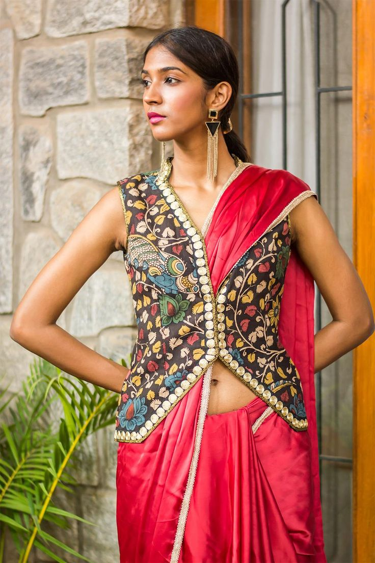 A long time coming this one! Introducing the jacket blouse in the coolest fashion made out of a hand painted kalamkari fabric. And be sure not to miss the collar detailing…Get your creative juices flowing and pair with any plain saree in one of the kalamk