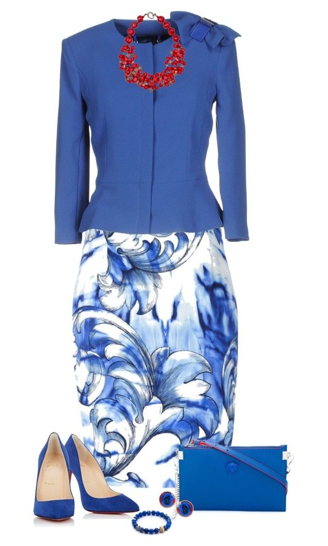"""""""Bright Blue with Red Pops"""" by miladyc ❤ liked on Polyvore featuring Versace, Elisabetta Franchi, Christian Louboutin and Plumeria Exclusive London"""