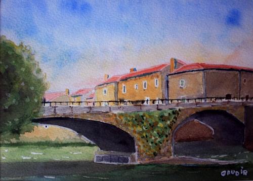 """© Gaudir13 """"Pont de village"""" Aquarelle 29 x 21 cm"""
