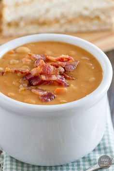 Skip the can - this Homemade Bean and Bacon Soup is hearty and filling and filled with veggies and chunks of bacon!: