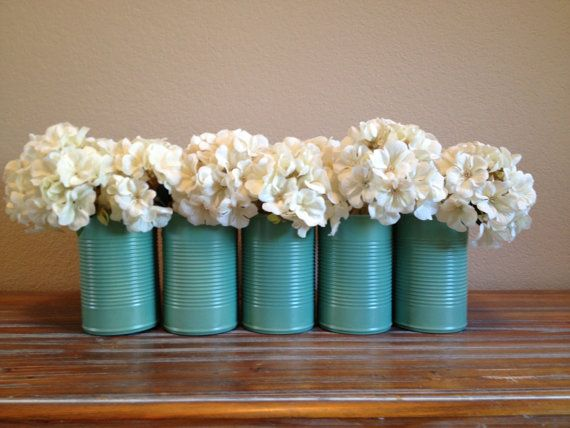 Shabby Chic Jade Green Wedding Tin Vase Decor by TinCanBoutique, $5.00