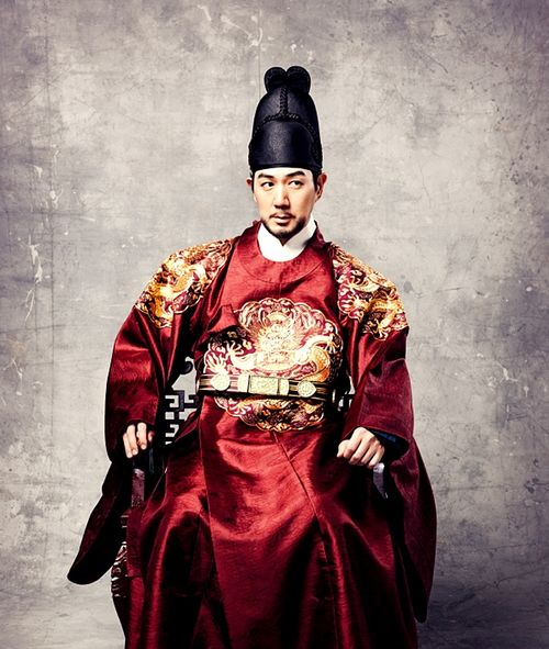 Man in red wearing 한복 hanbok, Korean traditional costume