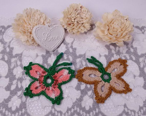 2 butterfly appliques crochet butterflies fabric by Rocreanique on Etsy