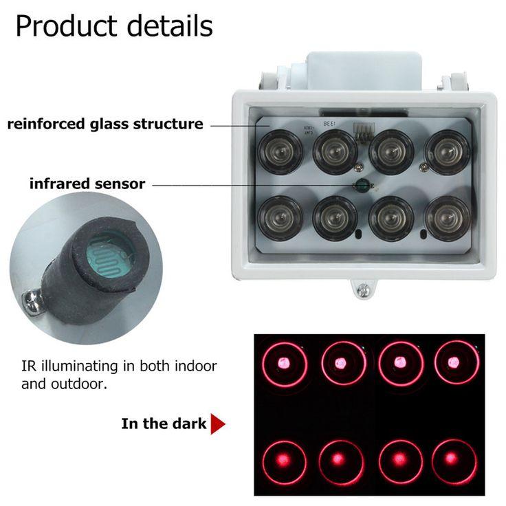 Illuminator Infrarot Licht für Sicherheits Kamera IR 8 LED 12V Nachtsicht Lampe